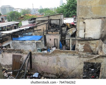 JAKARTA, INDONESIA - October 3, 2017: Buildings burnt by fire.