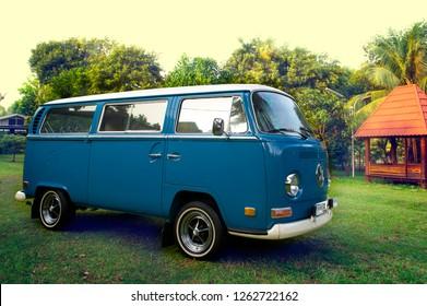 Jakarta / Indonesia - October 5, 2011 : Volkswagen kombi T2 double door on blue color