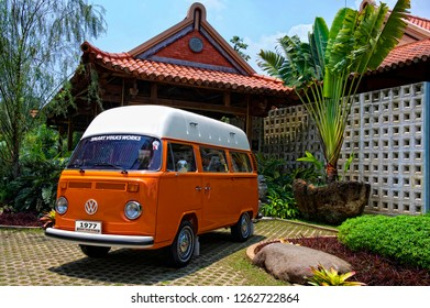 Jakarta / Indonesia - October 5, 2011 : Volkswagen Kombi T2 Highroof on Orange color