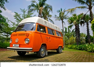 Jakarta / Indonesia - October 5, 2011 : Volkswagen Kombi T2 Highroof on Orange color