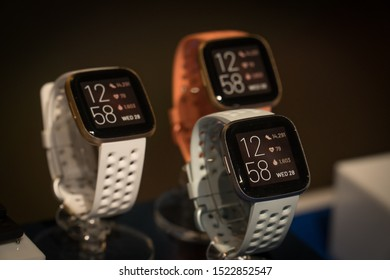 Jakarta, Indonesia - October 5: 2019: The Fitbit Versa 2 is health and fitness smartwatch with Amazon Alexa Built-in, 24/7 heart rate tracking, Sleep Score, apps and more.