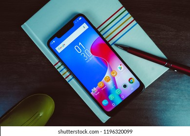 Jakarta, Indonesia - October 6, 2018: The Infinix Hot S 3X Android smartphone has a large display size of 6.2 inches with HD+ resolution, 19:9 screen aspect ratio, and notch.