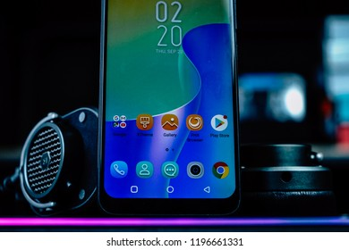 Jakarta, Indonesia - October 7, 2018: The bottom of the Infinix Hot S 3X screen.