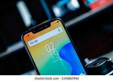 Jakarta, Indonesia - October 7, 2018: Notch design on Infinix Hot S 3X smartphone.