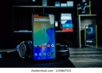 Jakarta, Indonesia - October 7, 2018: The Infinix Hot S 3X Android smartphone has a large display size of 6.2 inches with HD+ resolution, 19:9 screen aspect ratio, and notch.