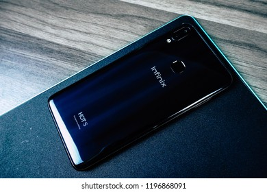 Jakarta, Indonesia - October 7, 2018: The back of Infinix Hot S 3X Android smartphone.