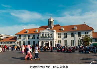 Jakarta, Indonesia - October 7, 2018: People walking around Museum Fatahillah during the day. Kota Tua, Jakarta, Indonesia.