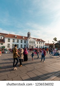 Jakarta, Indonesia - October 7, 2018: People walking around Museum Fatahillah area, Jakarta, Indonesia.