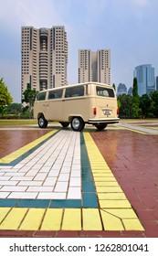 Jakarta / Indonesia - October 8, 2011 : Volkswagen Kombi T2 with cream color, year 1979