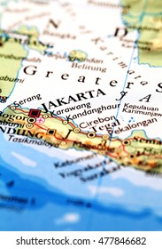 Jakarta Indonesia, on atlas world map