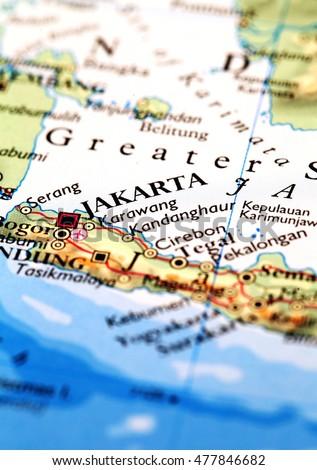 Jakarta Indonesia On Atlas World Map Stock Photo (Edit Now ...