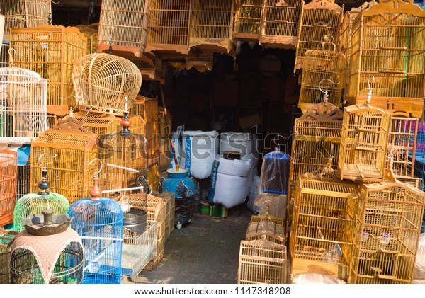 Jakarta Indonesia on July 29, 2018: bird cages shop