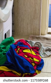 Jakarta Indonesia on September 10, 2018: superhero clothes was queuing to get wash