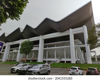 Jakarta, Indonesia - Sep 13 2021 :  Gelora Bung Karno Aquatic Stadium. The View from parking side. Aquatic Stadium consists of 4 (four) international standard pools with semi indoor concept.