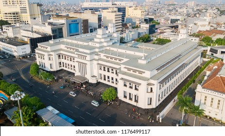 JAKARTA - Indonesia. September 04, 2018: Aerial view of beautiful Mandiri Museum building in Jakarta, Indonesia