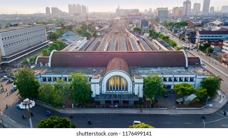 JAKARTA - Indonesia. September 04, 2018: Aerial view of Jakarta Kota Train Station with Jakarta cityscape background at morning time