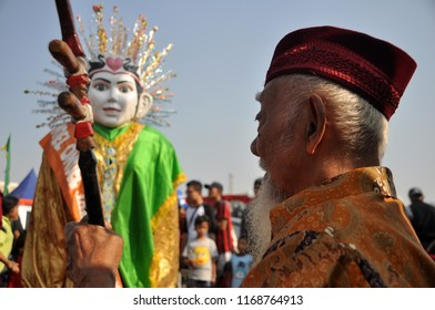 Jakarta, Indonesia - September 14, 2014: Ondel-ondel and Betawi traditional music performance at Lebaran Betawi Festival, Monas, Jakarta - Indonesia.
