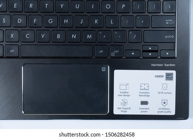 Jakarta, Indonesia - September 17, 2019: Side part of keyboard ASUS ZenBook Flip 13 UX362FA, has a full size backlit chiclet keyboard with 1.4mm key travel.