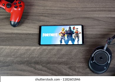 Jakarta, Indonesia - September 18, 2018: The Samsung Galaxy Note 9 Android smartphone playing Fortnite battle royale mobile games.