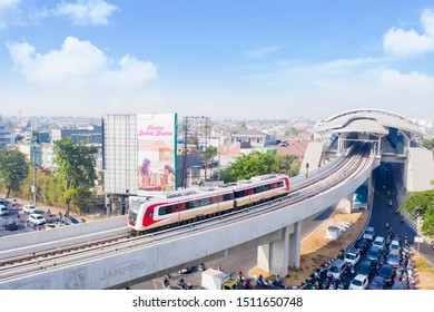 JAKARTA - Indonesia. September 18, 2019: Aerial view of Jakarta MRT moving out from the station on the elevated track