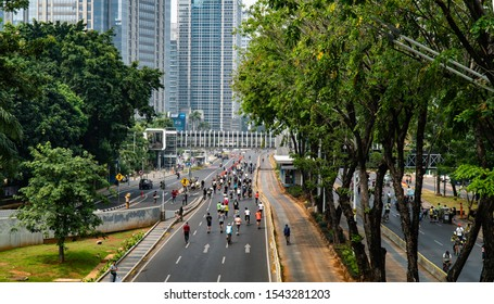 Jakarta, Indonesia - September 29 2019, Car Free Day (CFD) in Jakarta