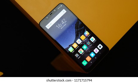 Jakarta, Indonesia - September 4, 2018: The Xiaomi Pocophone F1 has a 6.18 inch LCD with a notch and Full HD+ resolution (2246 x 1080 pixels in 18.7:9 ratio).