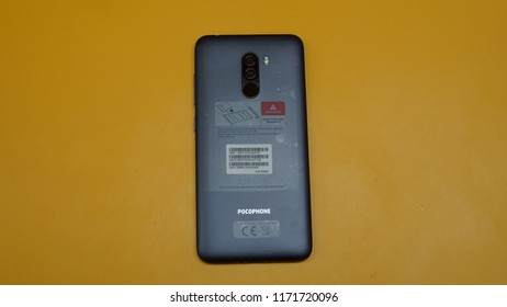 Jakarta, Indonesia - September 4, 2018: The Xiaomi Pocophone F1 powered by Snapdragon 845 mobile platform Qualcomm.