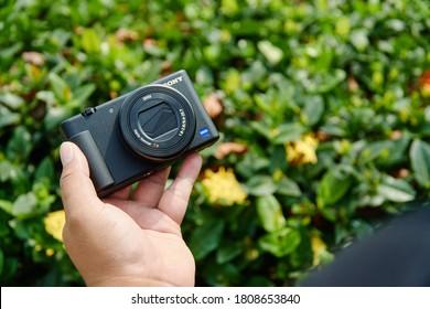 "Jakarta, Indonesia - September 4, 2020: The Sony ZV1 compact camera has a 24-70mm equiv. lens and 20MP 1"" sensor."