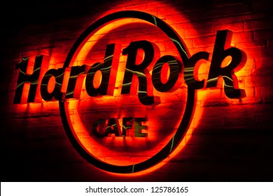 JAKARTA, INDONESIA - SEPTEMBER 5: Glowing Hard Rock Cafe logo on September 5, 2011 in Jakarta. Hard Rock Cafe Jakarta is now closed but it will be reopened in May 2013.