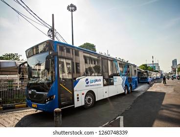 Jakarta, Indonesia : Transjakarta bus, main public transportation in Jakarta, Indonesia (12/2018).