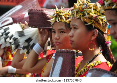 Jakarta, Indonesia-April 28, 2013: Young girl from Dayak Borneo Kalimantan participated at Dayak Festival in Jakarta, Indonesia.