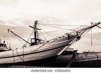 Jakarta, Indonesia-December 5 2016: Picture of Phinisi Ship in Tanjung Priok Pier