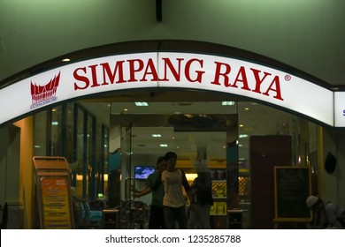 Jakarta, Indonesia-November 1, 2018: Simpang Raya Restaurant is an indigenous business engaged in Minang (Padang) cuisine.