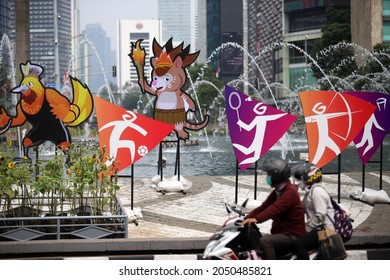 JAKARTA, INDONESIA-OCTOBER 2021-A number of mascots from the longest National Sports Week (PON) in Papua at the HI Roundabout on 01, October 2021 in Jakarta.
