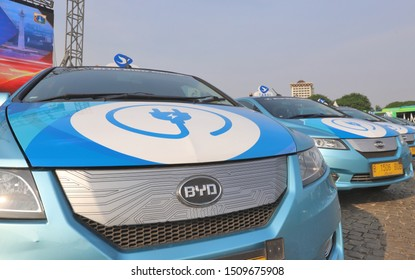 JAKARTA, INDONESIA-SEPTEMBER 2019-Blue Bird Taxi, one of the taxi operators in Indonesia uses an electric car with the BYD brand from China while at Monas on September 20, 2019 in Jakarta.