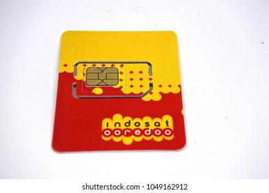 Jakarta -March 8, 2018: illustrative editorial photo-Indosat Ooredo SIM card on white background