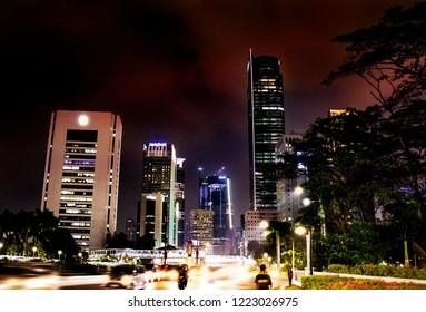 Jakarta Pusat, DKI Jakarta / Indonesia - October 15, 2018: Night view of Jakarta's city center