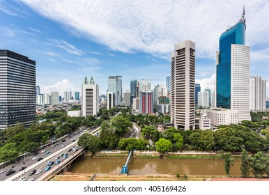 Jakarta skyline with modern office towers and hotels along Jalan Sudirman in Indonesia capital city business district.