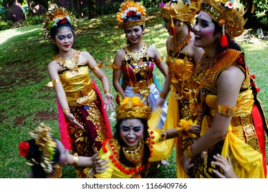 Jakarta, Jakarta Special Region / Indonesia - July 15, 2018: Young female Balinese dancers mingle at backstage after their performance in a dance festival in Jakarta.