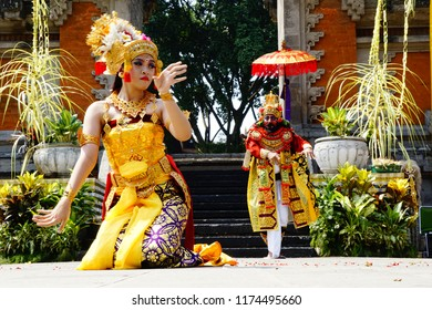 Jakarta, Jakarta Special Region / Indonesia - July 15 2018: A female balinese dancer on the stage dances plays her roles as a queen Sita in Indonesian Ramayana epics.