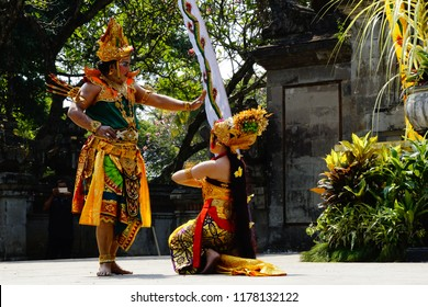 Jakarta, Jakarta Special Region / Indonesia - July 15 2018: Dancers perform on stage performing the story of Balinese Ramayana with King Rama and Queen Sita and her assistant depicted in the pictures.