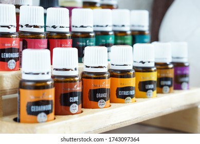 Jakarta Timur, DKI Jakarta/Indonesia - May 28 2020 : Products of Young Living Essential Oils. Selective focus.