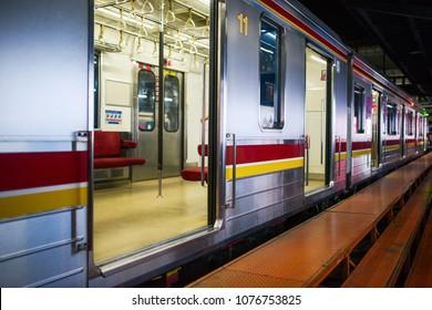 jakarta train station in indonesia, commuter railway line transportation, kereta api. Jakarta Mass Rapid Transit