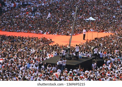 Jakarta/Indonesia - April 13th, 2019:  The incumbent, President Joko Widodo, gave speech in front of his mass supporters at Konser Putih Bersatu (the United White Concert) in Gelora Bung Karno Jakarta