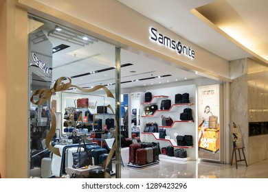 Jakarta,Indonesia - December 31,2018: View of Samsonite front store,  a luggage manufacturer and retailer, with products ranging from large suitcases to small toiletries bags and briefcases, Indonesia