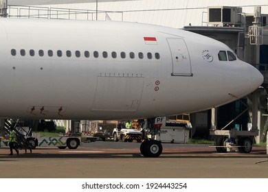 Jakarta,Indonesia February 25,2021 Garuda Indonesia Airbus A330-343 PK-GPF  At Soekarno Hatta Internasional Airport