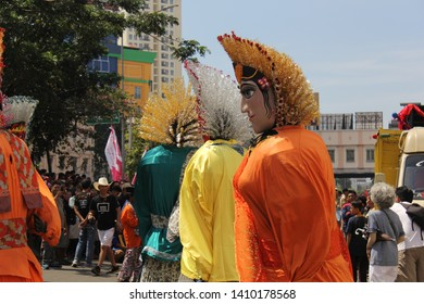 Jakarta-Indonesia, March 04-2018, Ondel Ondel Betawi are giant puppets from Betawi culture and the icon of Jakarta Indonesia.
