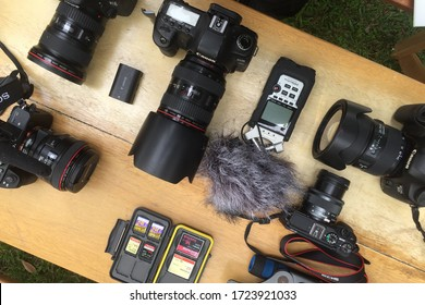 Jakarta,Indonesia-May2, 2020: top view of shooting gear, canon camera, zoom h4n, memory card and sony camera