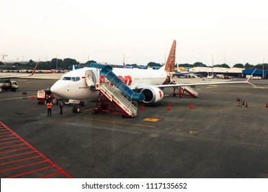 Jakarta/lndonesia 30-4-2018: A picture of Boeing 737 MAX 8 of Lion Air
