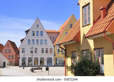 Jakriborg in Skaane Sweden is a Neighborhood where all the Houses are built after drawings of medieval Houses. To create a completely different way of living no cars a allowed inside the City.